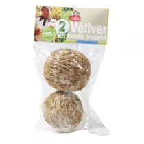 La Droguerie écologique - 2 boules Vétiver tressées 5 cm