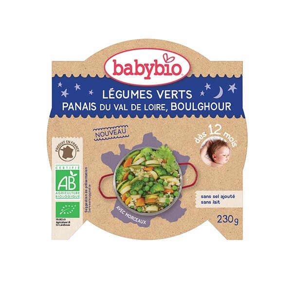 Babybio - AssietteLégumes verts Panais Boulghour dès 12m 230g
