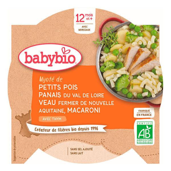 Babybio - AssiettePetits pois Panais Veau Macaroni dès 12m