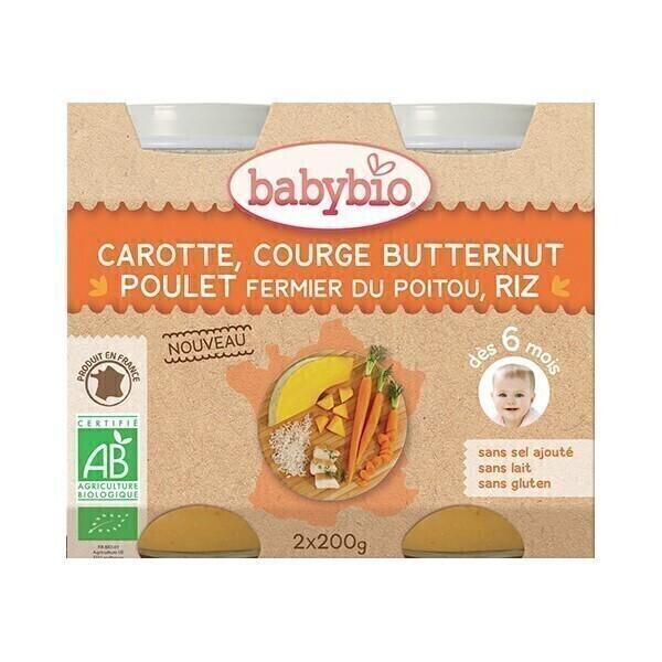 Babybio - Petits pots Carotte Courge Butternut Poulet Riz dès 6m