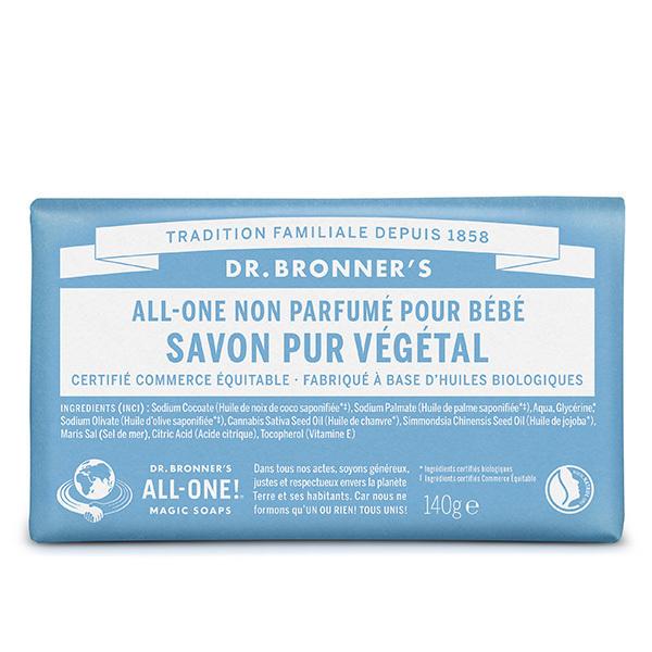 Dr Bronner's - Pain de savon Non parfumé 140g