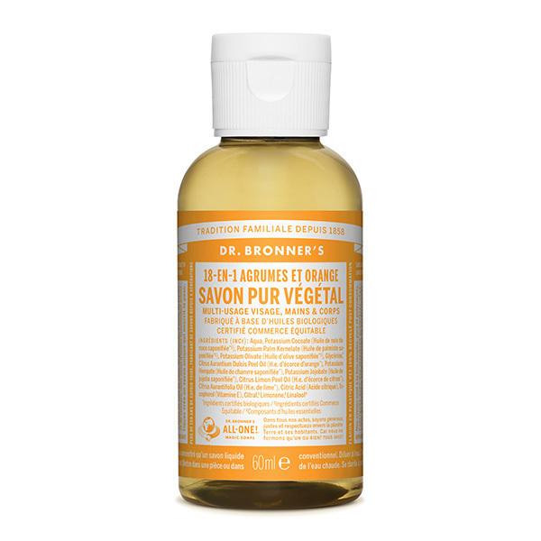 Dr Bronner's - Savon liquide Agrumes Orange 60ml