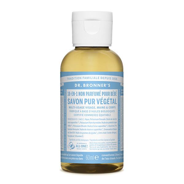 Dr Bronner's - Savon liquide Non parfumé 60ml