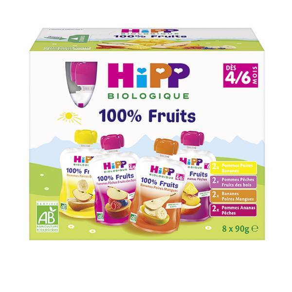 HiPP - Gourdes multipack dès 4 à 6 mois 8x90g