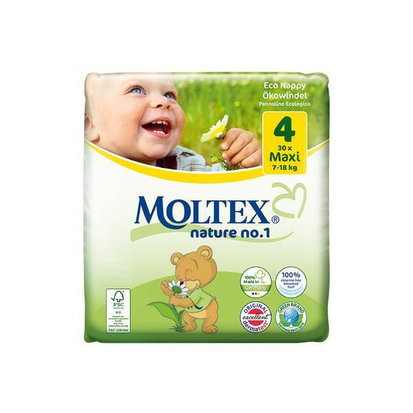 Moltex - Pack 4 x 30 Couches Eco-Maxi T4 Moltex 7-18 kg
