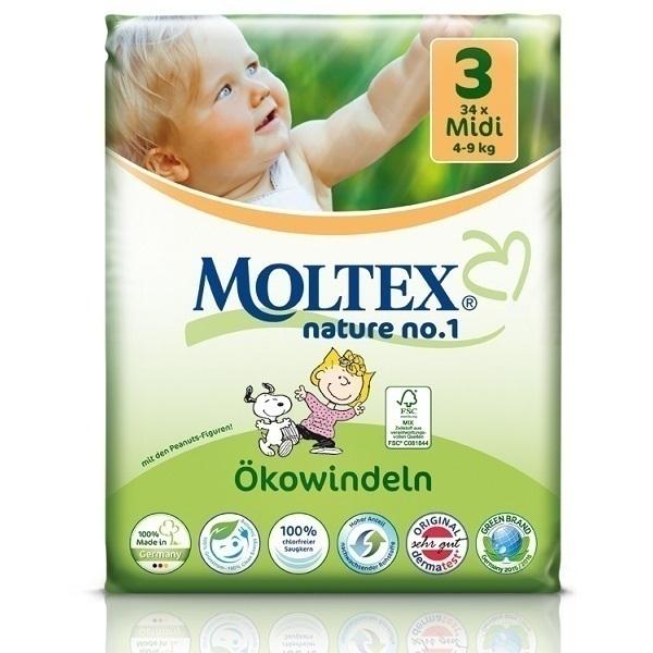 Moltex - Pack 4 x 34 Couches Eco-Midi T3 Moltex 4-9 kg