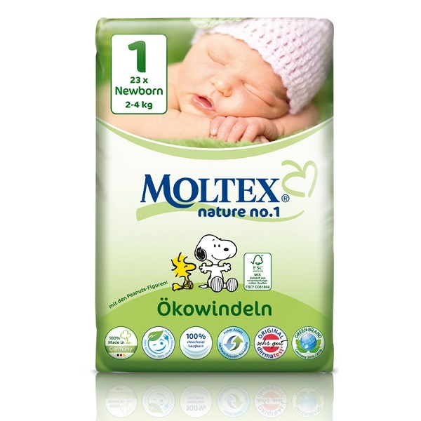 Moltex - Pack 8x23 Couches Moltex T1 New born 2-4 kg