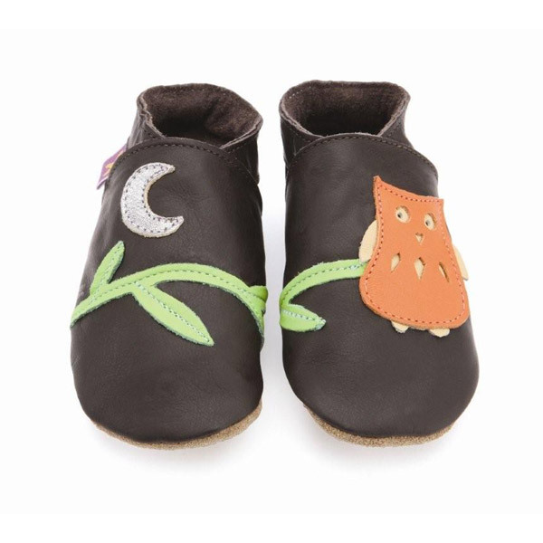 Starchild - Pantofole in cuoio Starchild Owl In Chocolate And Orange