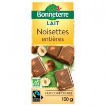 Bonneterre - Tablette chocolat Lait noisettes entières 100g
