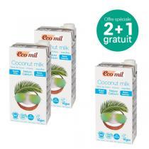 EcoMil - Offre Lait de coco-calcium Nature sans sucres 1L BIO 2+1 offert