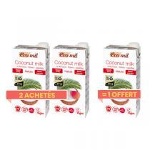 EcoMil - Offre Lait de Coco Sans Sucres 1L BIO 2 + 1 offert