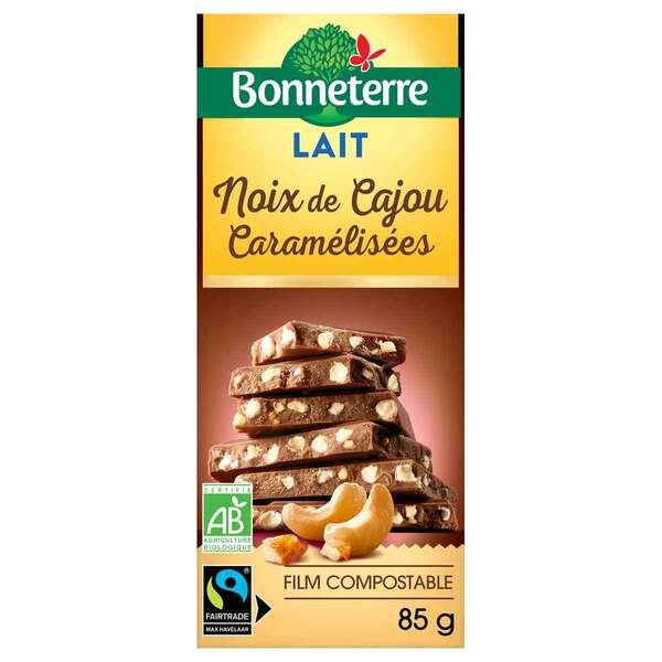 Bonneterre - Tablette chocolat lait et noix de cajou caramélisées 85g