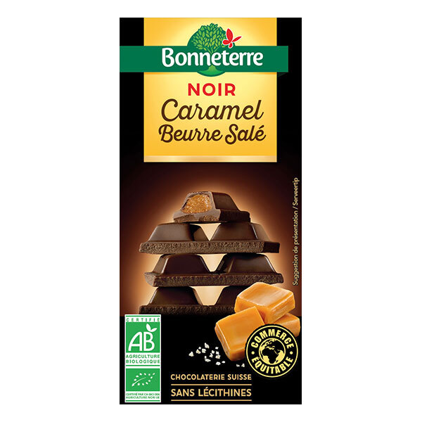 Bonneterre - Tablette chocolat Noir fourré Caramel beurre salé 100g