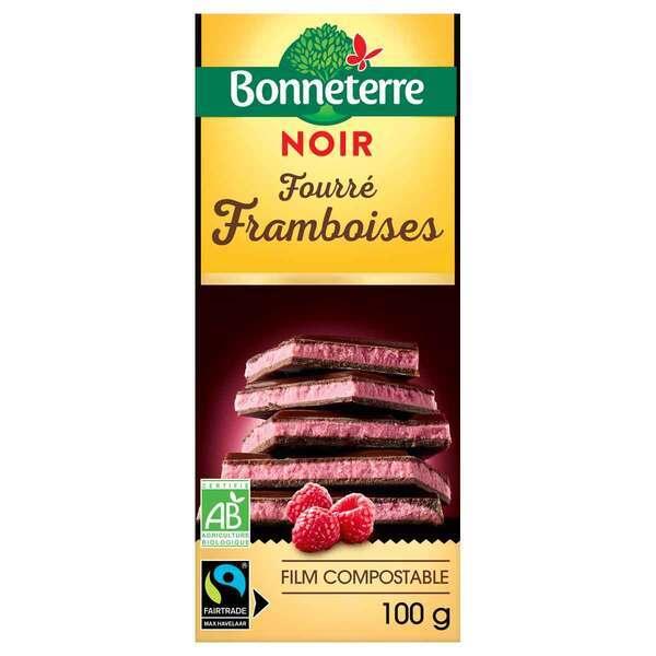 Bonneterre - Tablette chocolat Noir fourré Framboises 100g