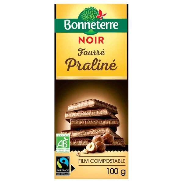 Bonneterre - Tablette chocolat Noir fourré praliné 100g