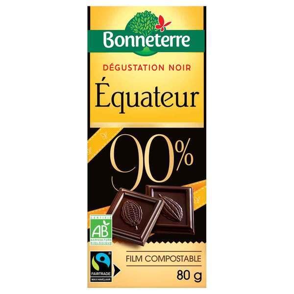 Bonneterre - Tablette chocolat Origine noir Equateur 90% 70g