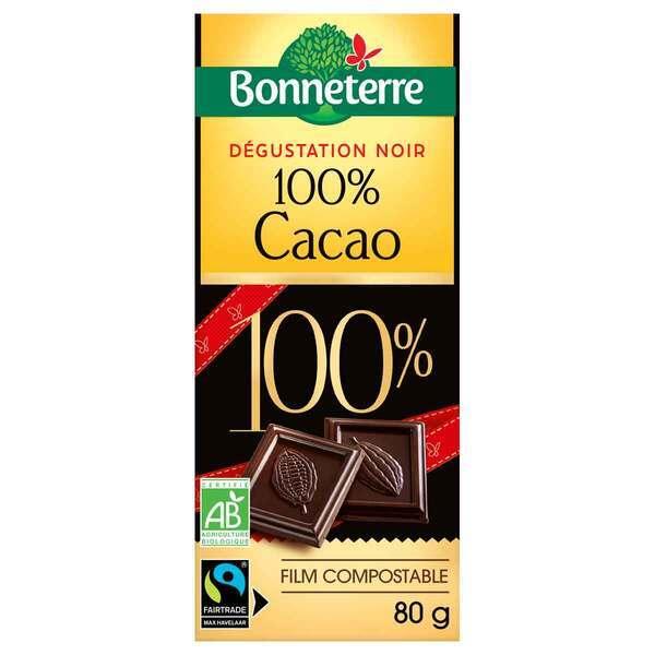 Bonneterre - Tablette de chocolat Noir dégustation 100% cacao 80g