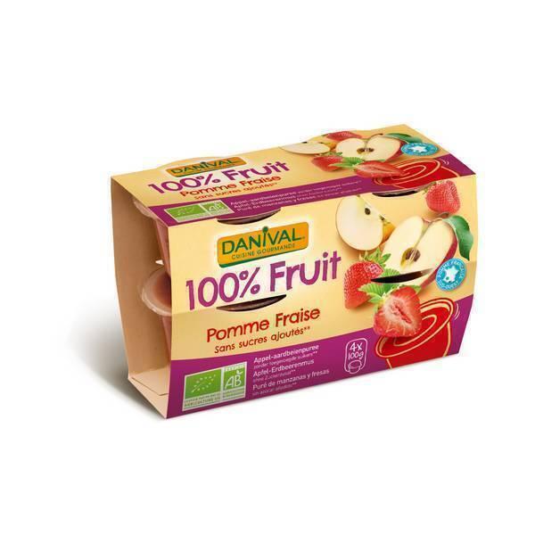 Danival - Purée Pommes fraises BIO 4 x 100g