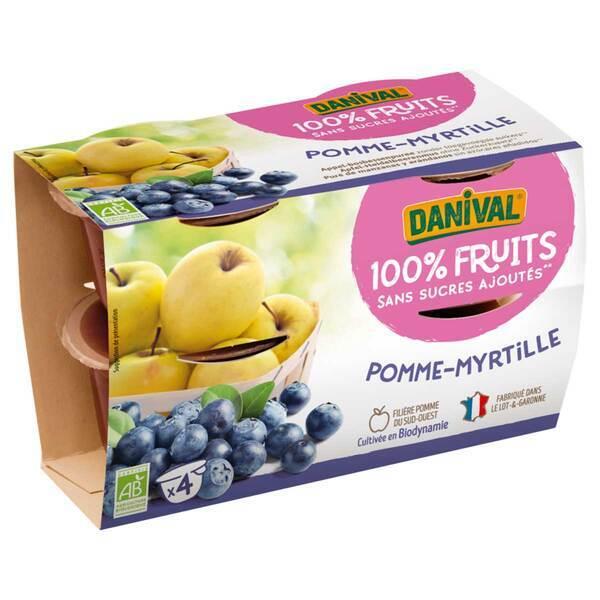 Danival - Purée Pommes myrtilles BIO 4 x 100g