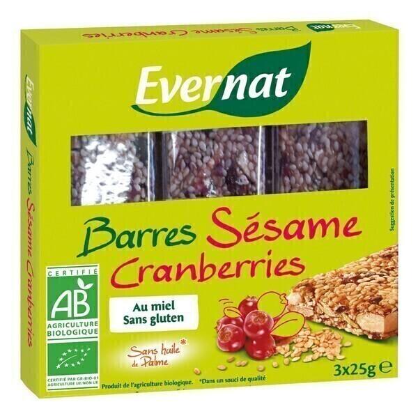 Evernat - Barres Sésame Cranberries 3x25gr