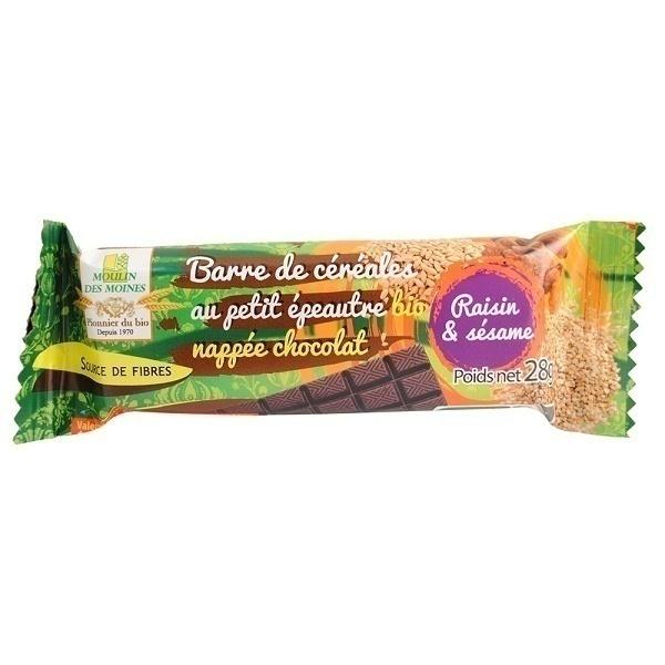 Moulin des Moines - Barre petit épeautre Raisin & sésame, nappée chocolat-28g