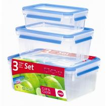Emsa - Lot de 3 boites alimentaires Clip & Close 1,0 / 2,3 / 3,7L