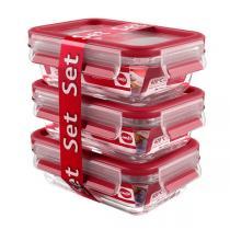 Emsa - Lot Boîtes alimentaires Clip & Close Verre 3 x 0,5L