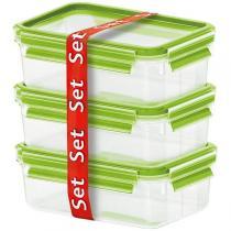 Emsa - Lot Boîtes alimentaires Clip & Close Verre 3 x 0,5L Vert clair