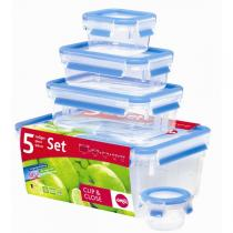 Emsa - Lot de 5 boites alimentaires Clip & Close