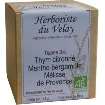 L'Herboriste du Velay - Tisane Thym Citronné Menthe Bergamote Mélisse Bio 10 Sachets