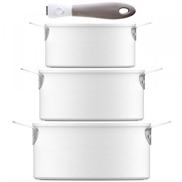 Aubecq - Série de 3 casseroles Evergreen Plug and Play + 1 poignée