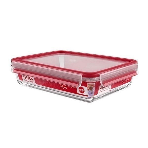 Emsa - Boîte alimentaire Clip-Close en verre rectangulaire 2L