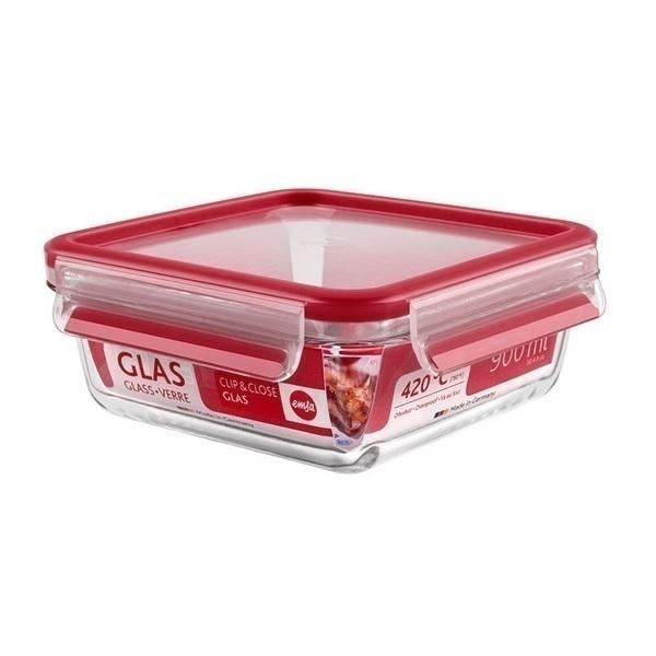 Emsa - Boîte alimentaire Clip-Close en verre rectangulaire 90cl