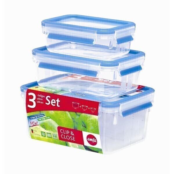 Emsa - Lot de 3 boîtes alimentaires Clip-Close 55cl, 1L et 2,3L