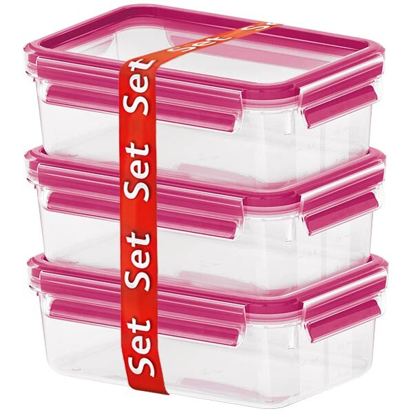 Emsa - Lot Boîtes alimentaires Clip & Close Verre 3 x 0,5L Framboise