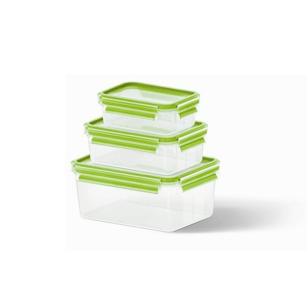 lot de 3 boites alimentaires clip close vert clair emsa. Black Bedroom Furniture Sets. Home Design Ideas