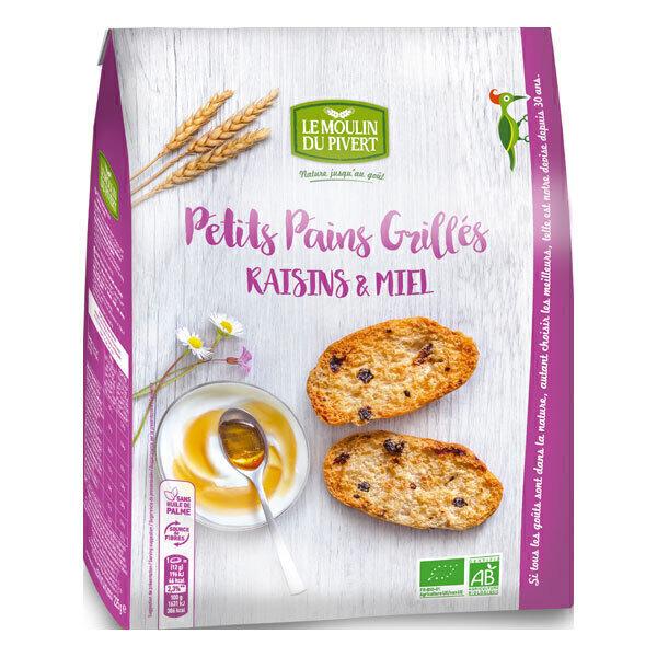 Le Moulin du Pivert - Petits pains grillés miel raisins bio 225g