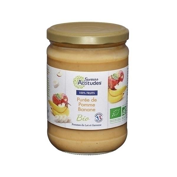 Saveurs Attitudes - Purée de Pomme Banane bio (Pommes du sud-ouest) 560g
