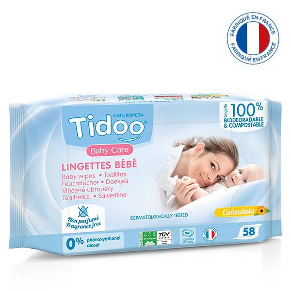 Tidoo - 58 Lingettes Bébé Bio Compostables Sans Parfum