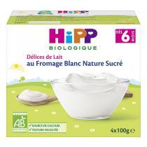 HiPP - Lot de 3 - Fromage Blanc Nature Sucré 4x100g