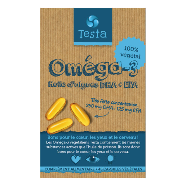 Testa - Oméga-3 450mg Huile d'Algues DHA et EPA - 45 Capsules