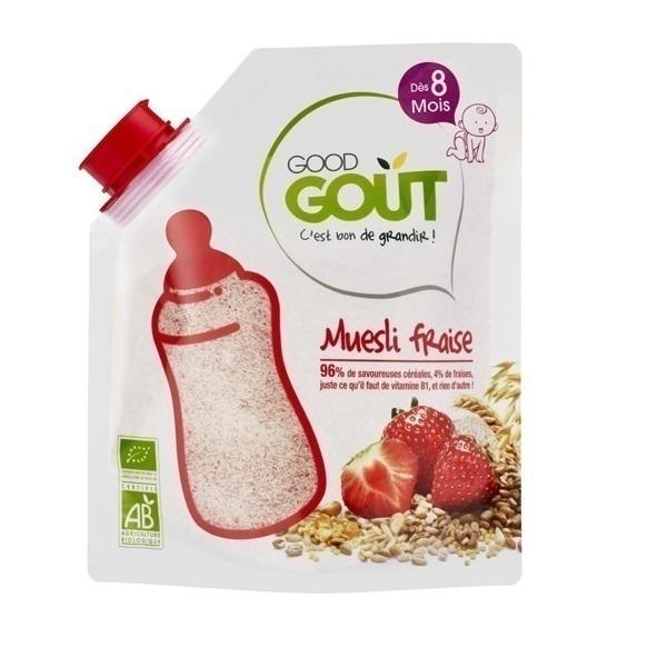 Good Gout - Céréales en poudre 200gr,Muesli Fraise 200gr à partir de 8 mois