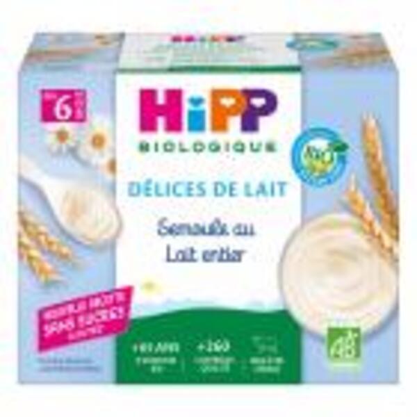 HiPP - Lot de 3 - Semoule au Lait Vanille dès 6 mois - 4 x 100g