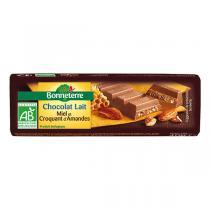 Bonneterre - Chocolat Lait Miel Et Croquant d'Amandes bio 40g
