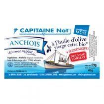 Capitaine Nat - Anchois entiers huile d'olive bio 69gr