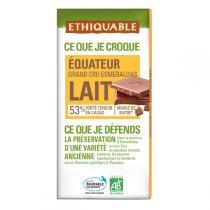 Ethiquable - Chocolat lait 53% cacao Equateur BIO 100g