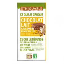 Ethiquable - Chocolat lait gingembre graines de lin BIO 100g