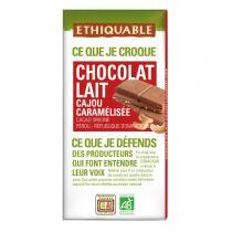Ethiquable - Chocolat lait noix cajou caramélisée BIO 100g