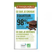 Ethiquable - Chocolat noir 98% Equateur BIO 100g