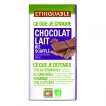 Ethiquable - Tablette chocolat  lait riz soufflé Pérou 100g